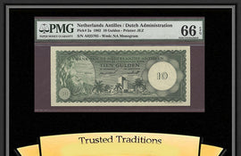 TT PK 0002a 1962 NETHERLANDS ANTILLES 10 GULDEN PMG 66 EPQ GEM UNC NONE FINER