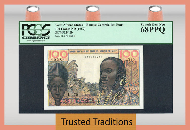 TT PK 0002b 1959 WEST AFRICAN STATES 100 FRANCS PCGS 68 PPQ SUPERB GEM NEW!