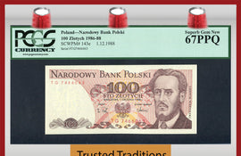 "TT PK 0143e 1986-88 POLAND 100 ZLOTYCH ""L. WARYNSKI"" PCGS 67 PPQ ONE OF TWO!"