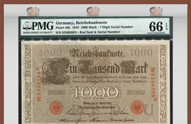 TT PK 0044b 1910 GERMANY 1000 MARK PMG 66 EPQ GEM UNCIRCULATED NONE FINER!