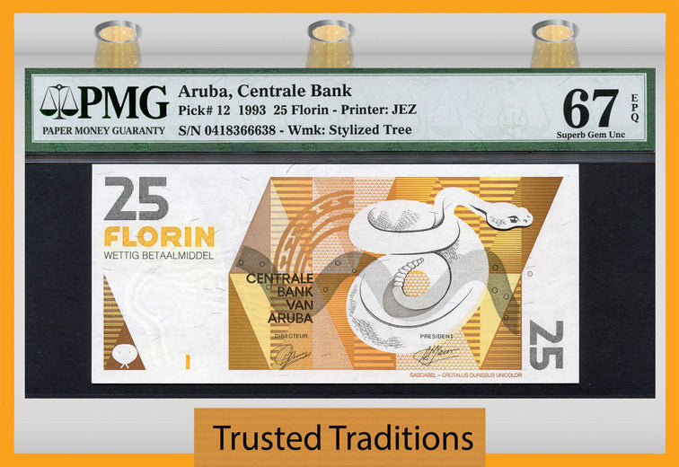 TT PK 0012 1993 ARUBA 25 FLORIN PMG 67 EPQ SUPERB GEM UNCIRCULATED NONE FINER