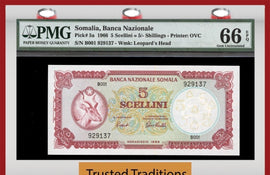 TT PK 0005a 1966 SOMALIA 5 SCELLINI = 5/- SHILLINGS PMG 66 EPQ GEM ONLY ONE FINER