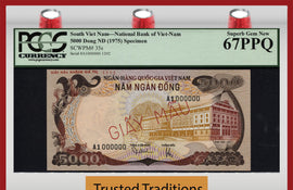 "TT PK 0035s 1975 SOUTH VIET NAM 5000 DONG ""SPECIMEN"" PCGS 67 PPQ SUPERB GEM NEW!"