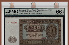 TT PK 0021* 1955 GERMANY DEM. REP. 100 DEUTSCHE MARK PMG 66 EPQ REPLACEMENT / STAR