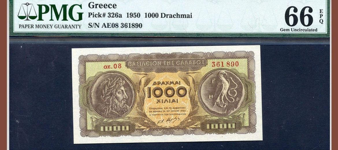 TT PK 0326a 1950 GREECE 1000 DRACHMAI PMG 66 EPQ GEM UNCIRCULATED POP ONE