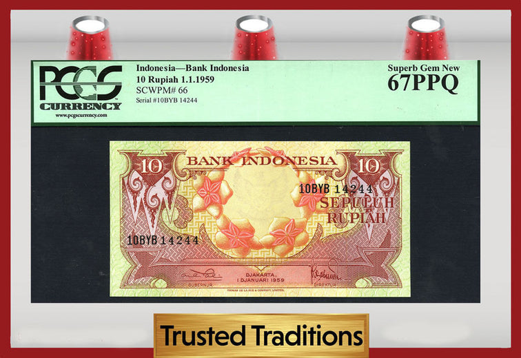 TT PK 0066 1959 INDONESIA 10 RUPIAH BANK INDONESIA PCGS 67 PPQ SUPERB GEM NEW!