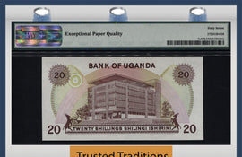 TT PK 0007c 1973 UGANDA 20/- SHILLINGS PMG 67 EPQ SUPERB GEM UNC POP 2 NONE FINER!