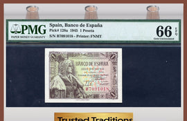 TT PK 0128a 1945 SPAIN 1 PESETA PMG 66 EPQ GEM UNCIRCULATED ONLY ONE FINER