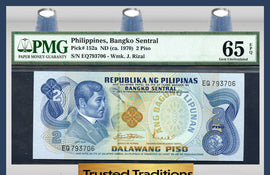 "TT PK 0152a 1970 PHILIPPINES 2 PISO ""INDEPENDENCE DECLARATION"" PMG 65 EPQ GEM UNC"