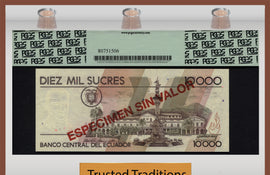 "TT PK 0127s4 1998 ECUADOR 10000 SUCRES ""SPECIMEN"" PCGS 65 PPQ GEM NEW POP ONE!!!"