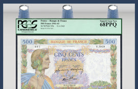 TT PK 0095b 1941-43 FRANCE 500 FRANCS PCGS 68 PPQ SUPERB GEM NEW STELLAR NOTE!