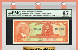 TT  PK 0202a 1919 HAITI 5 GOURDES PMG 67 EPQ SUPERB GEM UNCIRCULATED