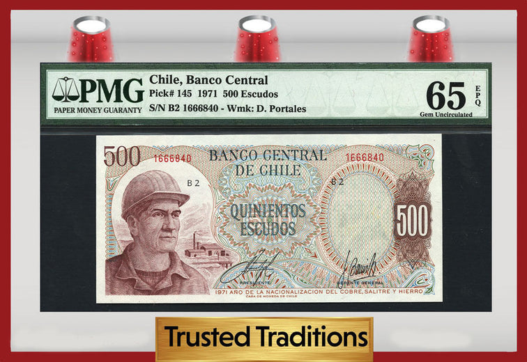 TT PK 0145 1971 CHILE 500 ESCUDOS PMG 65 EPQ GEM ONLY THREE FINER!