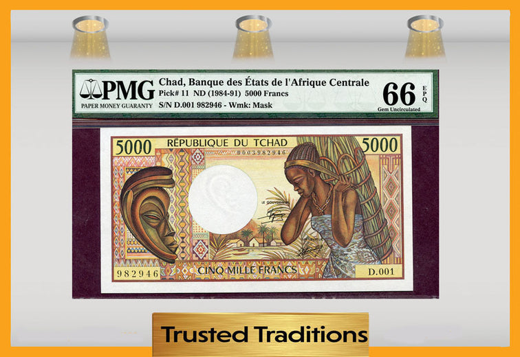TT PK 0011  1984-91 CHAD 5000 FRANCS PMG 66 EPQ GEM UNCIRCULATED