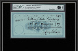 TT OBS 1907 $5 SAN FRANCISCO CA. NORTHERN ELECTRIC CO. PMG 66 EPQ GEM UNCIRCULATED