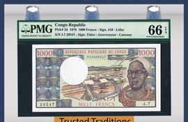 TT PK 0003d 1978 CONGO REPUBLIC 1000 FRANCS PMG 66 EPQ GEM UNCIRCULATED POP THREE