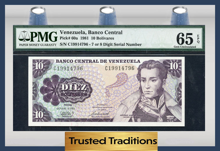 TT PK 0060a 1981 VENEZUELA 10 BOLIVARES PMG 65 EPQ GEM POP ONE FINEST KNOWN!