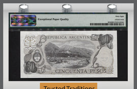 TT PK 0301b 1976-78 ARGENTINA 50 PESOS PMG 68 EPQ SUPERB GEM UNC FINEST KNOWN!