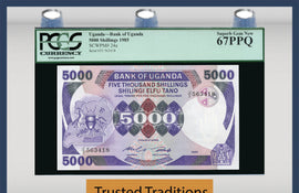 TT PK 0024a 1985 UGANDA 5000 SHILLINGS PCGS 67 PPQ SUPERB GEM NEW POPULATION ONE