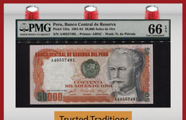 TT PK 0125a 1981-84 PERU 50000 SOLES DE ORO PGM 66 EPQ GEM POP TWO NONE FINER!