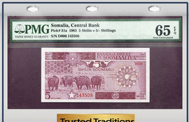 "TT PK 0031a 1983 SOMALIA 5 SHILIN = 5/ SHILLINGS ""BUFFALO"" PMG 65 EPQ GEM POP ONE"