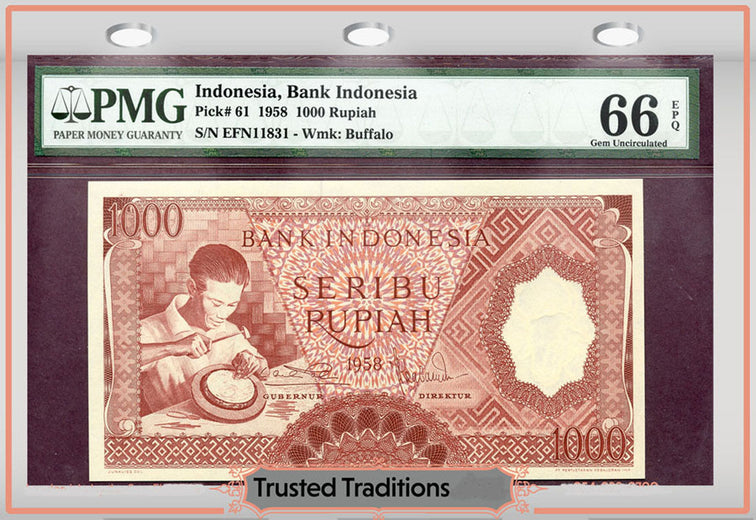 TT PK 0061 1958 INDONESIA 1000 RUPIAH PMG 66 EPQ GEM UNCIRCULATED ONLY THREE FINER