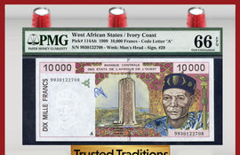 TT PK  0114Ah 1999 WEST AFRICAN STATES 10,000 FRANCS PMG 66 EPQ GEM UNCIRCULATED