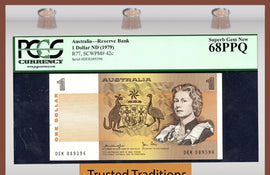 TT PK 0042c 1979 AUSTRALIA 1 DOLLAR QUEEN ELIZABETH PCGS 68 PPQ FINEST KNOWN