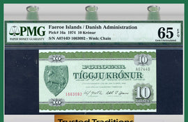 TT PK 0016a 1974 FAEROE ISLANDS 10 KRONUR PMG 65 EPQ GEM POP TWO IN THIS LEVEL!