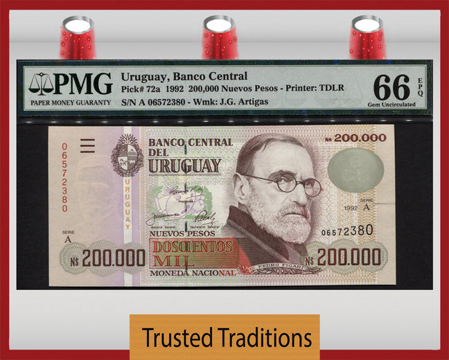 TT PK 0072a 1992 URUGUAY 200000 NUEVO PESOS PMG 66 EPQ GEM UNC POPULATION OF TWO!