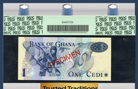 "TT PK 0013c-CS1 1976 GHANA 1 CEDI ""SPECIMEN"" PCGS 66 PPQ GEM NEW NONE FINER!!"