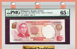 TT PK 0146a 1969 PHILIPPINES 50 PISO PMG 65 EPQ GEM UNCIRCULATED POP ONE!
