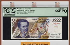 "TT PK 0128as 1991-93 ECUADOR 5000 SUCRES ""SPECIMEN"" PCGS 66 PPQ GEM NEW POP ONE!"