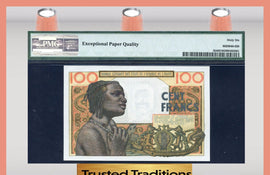 TT PK 0002b ND 1959 WEST AFRICAN STATES 100 FRANCS PMG 66 GEM UNCIRCULATED