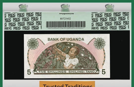 TT PK 0015 1982 UGANDA 5 SHILLINGS PGCS 67 PPQ SUPERB GEM NEW POPULATION OF ONE