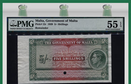 "TT PK 0012r 1939 MALTA 5/- SHILLINGS ""KING GEORGE VI"" ""RARE"" PMG 55 EPQ POP ONE!"
