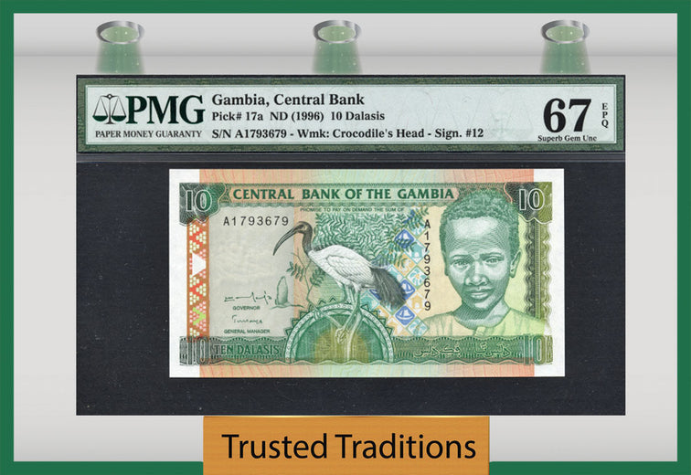 TT PK 0017a 1996 GAMBIA 10 DALASIS PMG 67 EPQ SUPERB GEM UNCIRCULATED TOP POP!