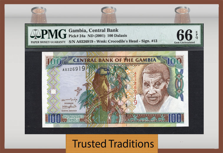 TT PK 0024a 2001 GAMBIA 100 DALASIS PMG 66 EPQ GEM UNCIRCULATED TOP POPULATION!