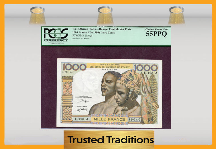 TT PK 0103An 1980 WEST AFRICAN STATES 1000 FRANCS PCGS 55 PPQ CHOICE ABOUT NEW