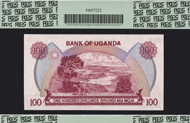 TT PK 0019b 1982 UGANDA 100 SHILLINGS PCGS 66 PPQ GEM NONE FINER SET OF 2 NOTES
