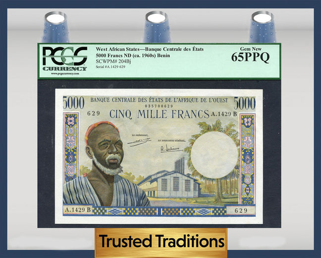 TT PK 0204Bj 1960s WEST AFRICAN STATES 5000 FRANCS PCGS 65 PPQ GEM NEW!