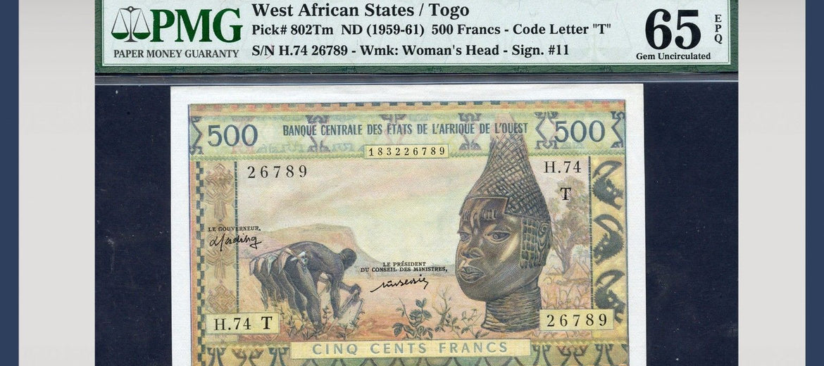 TT PK 0802Tm ND 1959-61 WEST AFRICAN STATES / TOGO 500 FRANCS PMG 65 EPQ GEM UNC