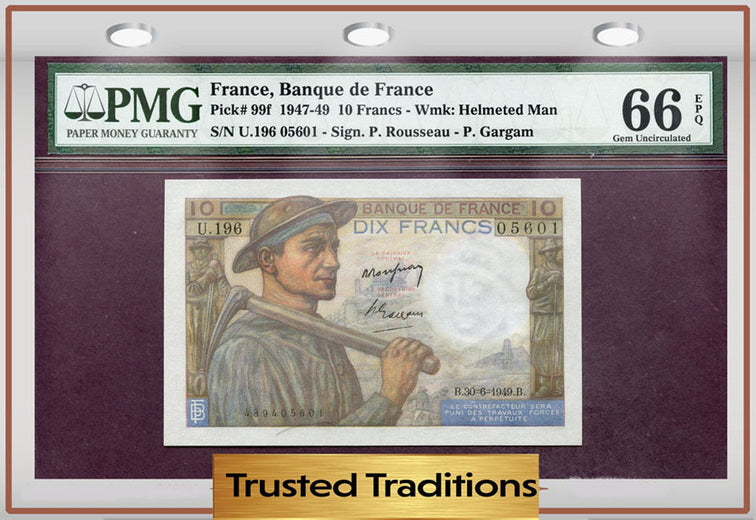 TT PK 0099f 1947-49 FRANCE 10 FRANCS PMG 66 EPQ GEM POP ONE!!