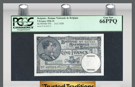 "TT PK 0097b 1928 BELGIUM 5 FRANCS ""KING ALBERT AND QUEEN ELIZABETH"" PCGS 66 PPQ"
