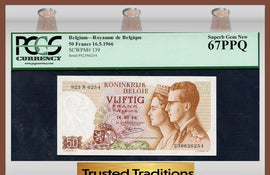 TT PK 0139 1966 BELGIUM 50 FRANCS PCGS 67 PPQ SUPERB GEM POP ONE FINEST KNOWN!