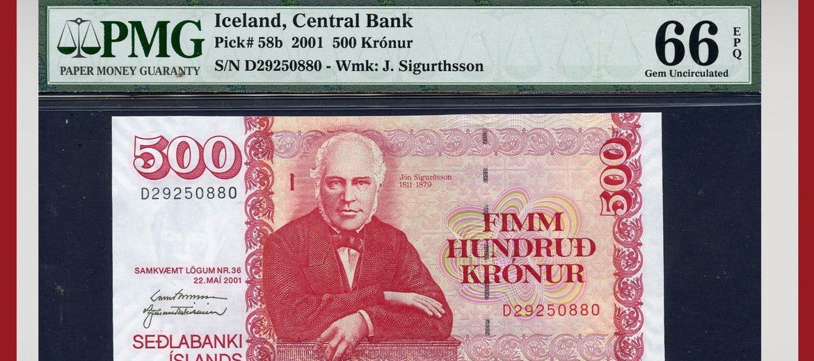 TT PK 0058b 2001 ICELAND 500 KRONUR PMG 66 EPQ GEM UNCIRCULATED POP ONE