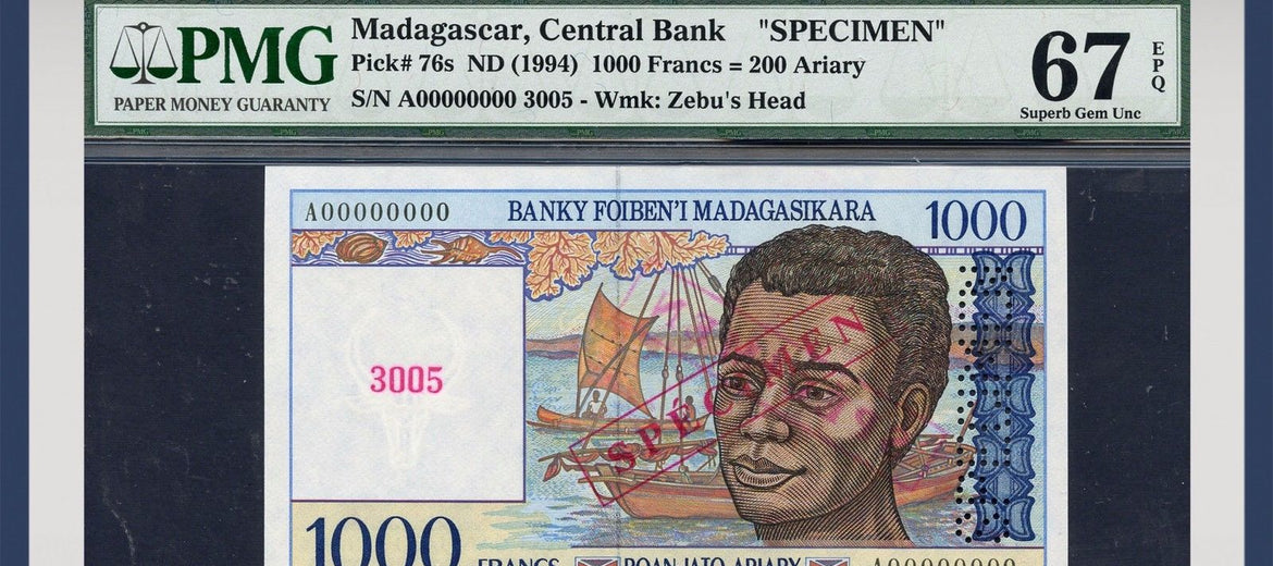 TT PK 0076s 1994 MADAGASCAR 1,000 FRANCS SPECIMEN PMG 67 EPQ POP TWO NONE FINER!