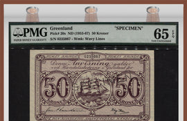 TT PK 0020s ND (1953-67) GREENLAND 50 KRONER SPECIMEN PMG 65 EPQ GEM UNCIRCULATED!
