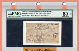 TT PK 0001a 1941-42 JERSEY/GERMAN OCCUPATION WWII 6 PENCE PMG 67 EPQ POP ONE