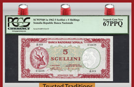 TT PK 0001a 1962 SOMALIA 5 SCELLINI = 5 SHILLINGS PCGS 67 PPQ SUPERB GEM NONE FINER
